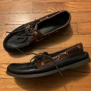 Sperry Topsider Men Size 10.5 Black Brown Leather